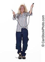 Careless blond electrician