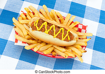 Chilidog with mustard - A chilidog with mustard in a basket...