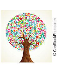 School education concept tree made with letters. Vector file...