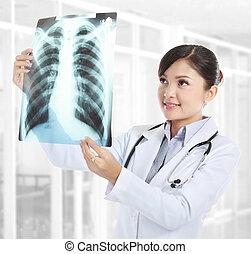 hembra, doctor, Mirar, radiografía
