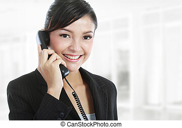 business woman on phone call - Portrait of charming young...
