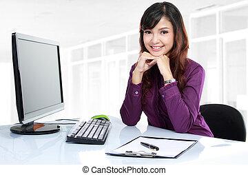 negócio, mulher, trabalhando, dela, escrivaninha