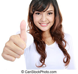 young female with thumbs up - Portrait of an attractive...