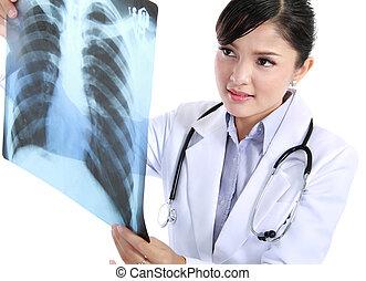 Un, hembra, doctor, verificar, radiografía