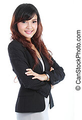 beautiful young business woman - Smiling beautiful young...