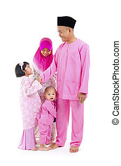 malay family during hari raya aidilfitri, salam
