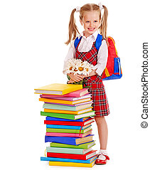 Child with stack book - Happy child with backpack holding...