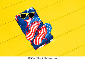 July fourth objects - Fourth of July flip flops and...