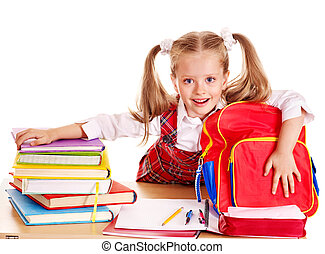 Child with stack book - Happy little girl with school...