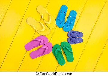 Flip Flop Assortment - An assortment of colorful rubber flip...