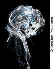 Smoke plume - A plume of backlit cigeratte smoke against a...