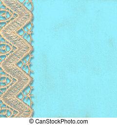 turquoise, fond, dentelle, tailler