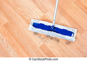 Cleaning wooden floor - Image of a modern floor dusting mop...