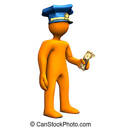 Bribe - Orange cartoon with police cap and money in the hand...