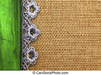 rustic background, burlap, wood and lace with copy space
