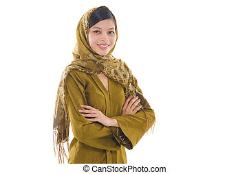 Portrait of a young muslim woman on white background