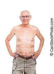 Happy naked senior man