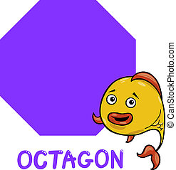 octagon shape with cartoon fish - Cartoon Illustration of...