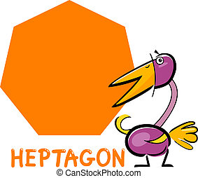 heptagon shape with cartoon bird