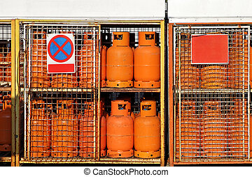 LPG Gas cylinders - LPG gas cylinders at petrol station...
