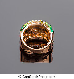 Gold ring with crystals
