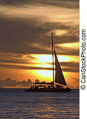 Catamaran - tropical sundown photgraphed in Holetown,...