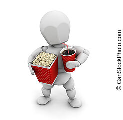 Off to the movies - 3D render of someone with popcorn and a...
