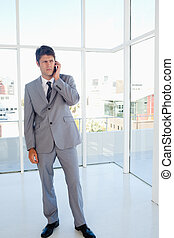 Stern executive on the phone in a bright room - Strict...