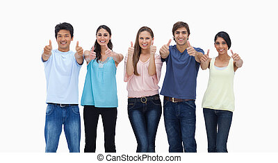 Customers approving against white background