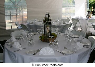 Tables set up for wedding
