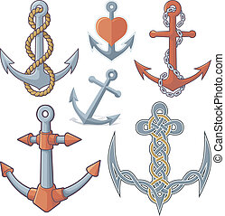 Anchors - Set of six anchor icons isolated on white...
