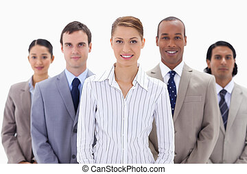 Close-up of a business team a smiling