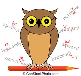 Proofreading - Vector illustration of owl with a red pencil...