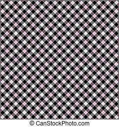 rosa, tartán, y,  diagonal, negro, blanco