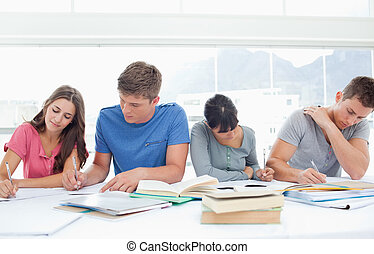 Four students sit beside each other and study - Four...