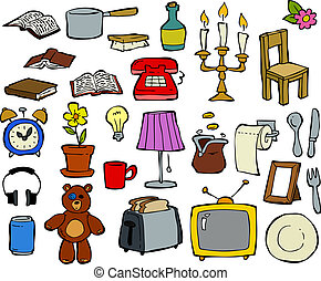 Household items doodle design elements vector illustration