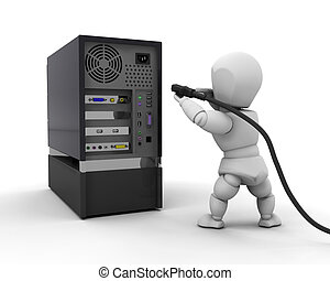 Connections - 3D render of someone plugging a cable into a...