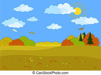 Vector illustration - Autumn landscape: sunny blue sky with...