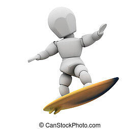 Surfer - 3D render of someone surfboarding