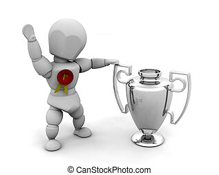Winner - 3D render of someone with a first prize trophy and...