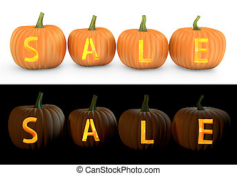 Sale text carved on pumpkin jack lantern isolated on and...