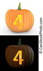 Number 4 carved on pumpkin jack lantern isolated on and...