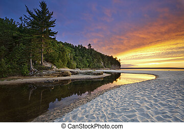 Beautiful Michigan Landscape. - Image of Miners Beach at...