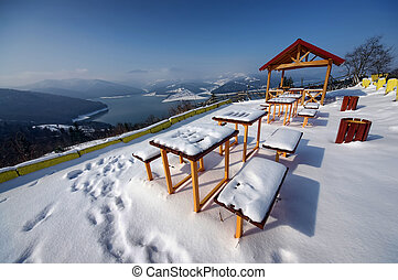 resting place in winter - touristic resting place covered in...