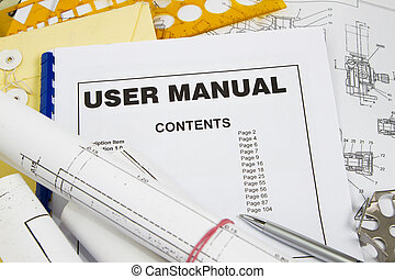 User manual guide brochure with blueprint and pencil