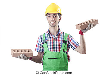 Construction worker isolated on the white