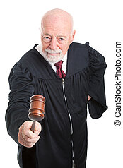 Angry Judge Bangs Gavel - Angry judge bangs his gavel....
