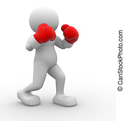 Boxer - 3d people - men , person with red boxing gloves....