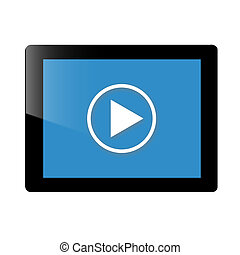 Tablet and play icon - This is a tablet ,it's have a black...