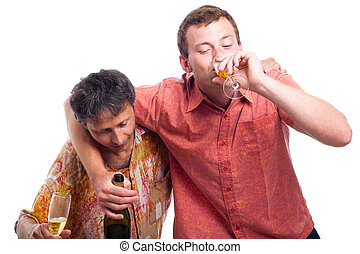 Drunken men drinking alcohol - Two drunken men drinking...